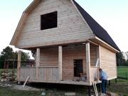 Сруб Дома из бруса Алексей 6 × 6 с террасой,  установка Борисов и рн