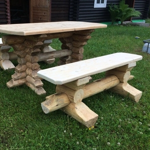 Комплект садовая мебель из бревна